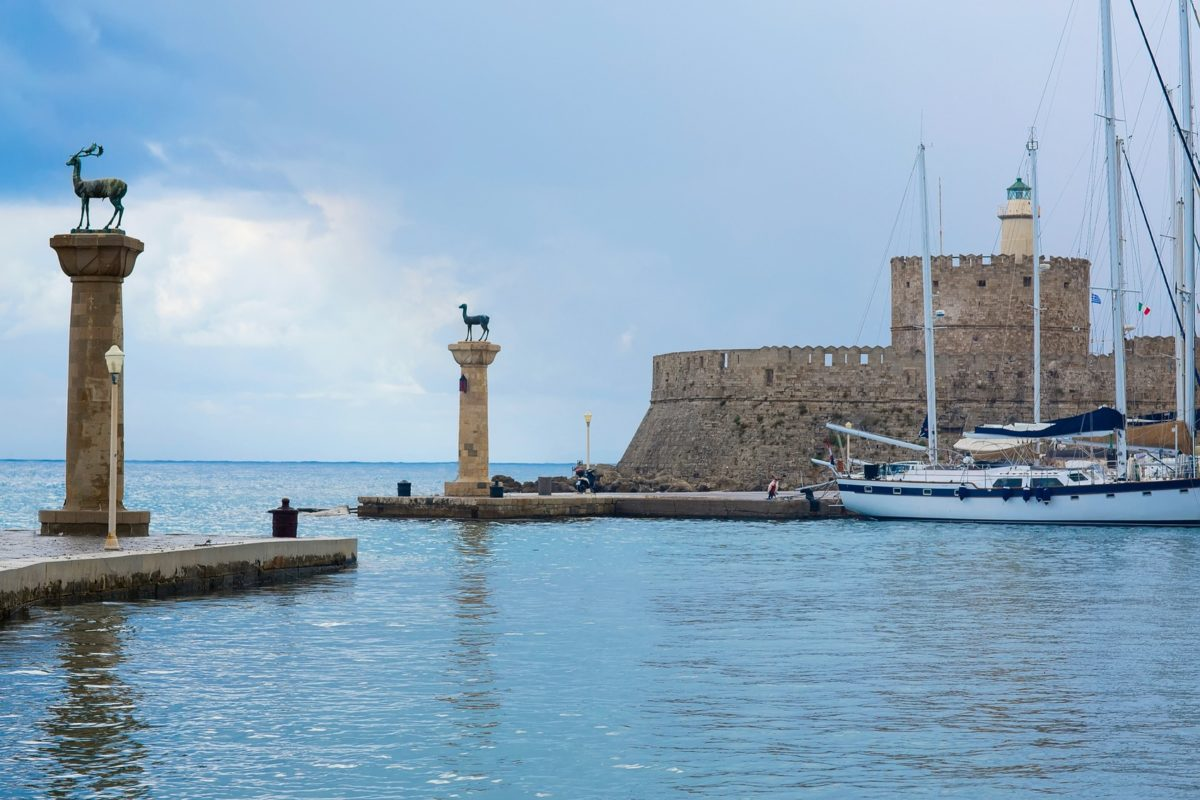 Mandaki port in Rhodes island Greece on rainy day
