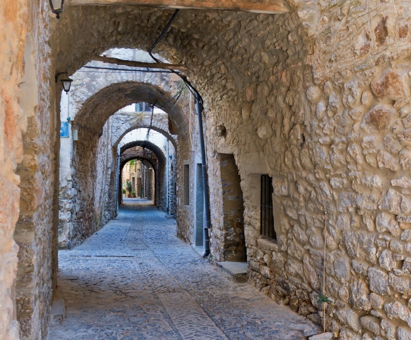 Arches in the village of Mesta in Chios island, Greece