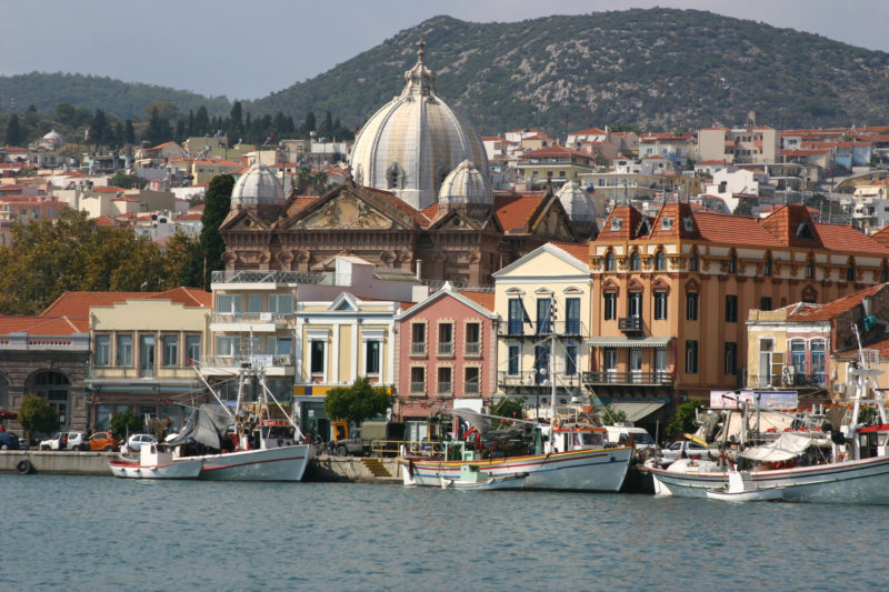 The picturesque harbor area of Mytilene, Lesbos, with its orthodox church in the background.
