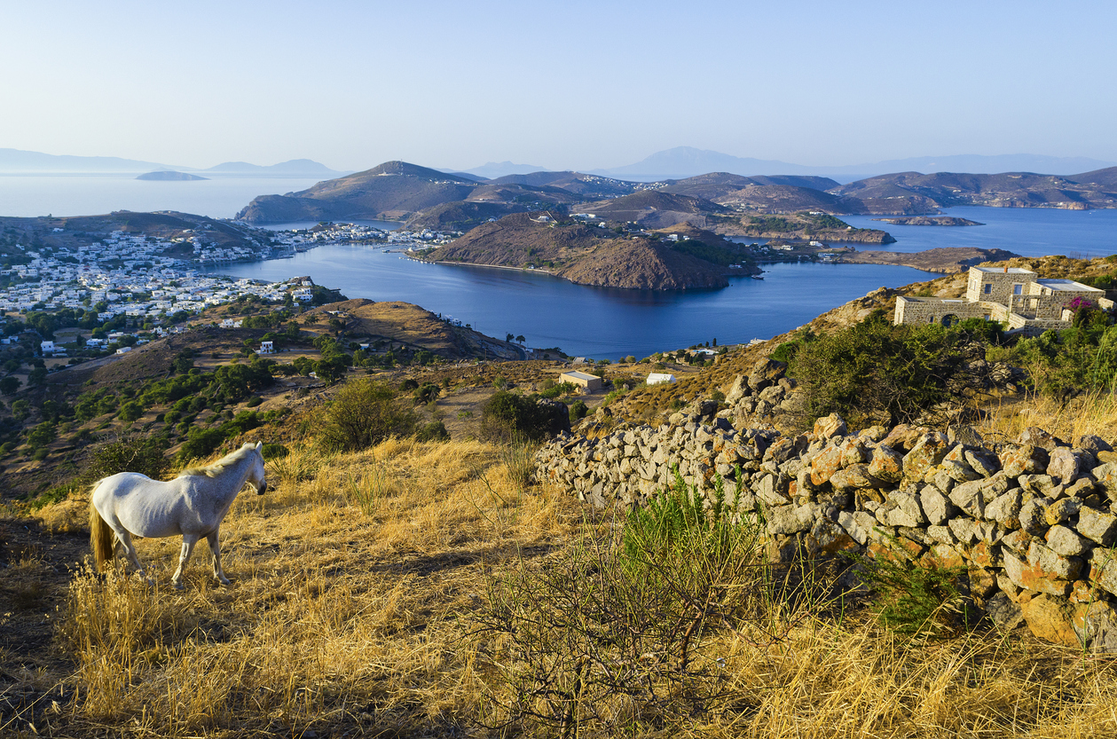 View from above in Patmos island Skala village