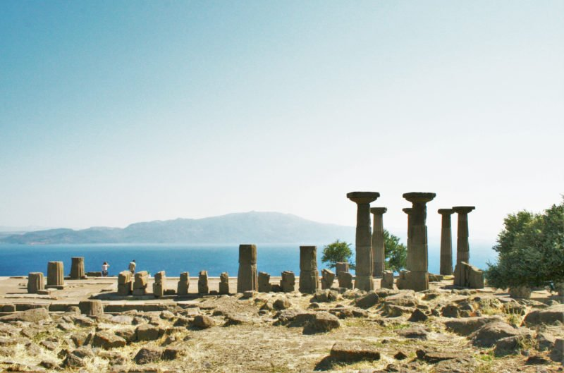A view from the ancient city of Assos on a sunny day.
