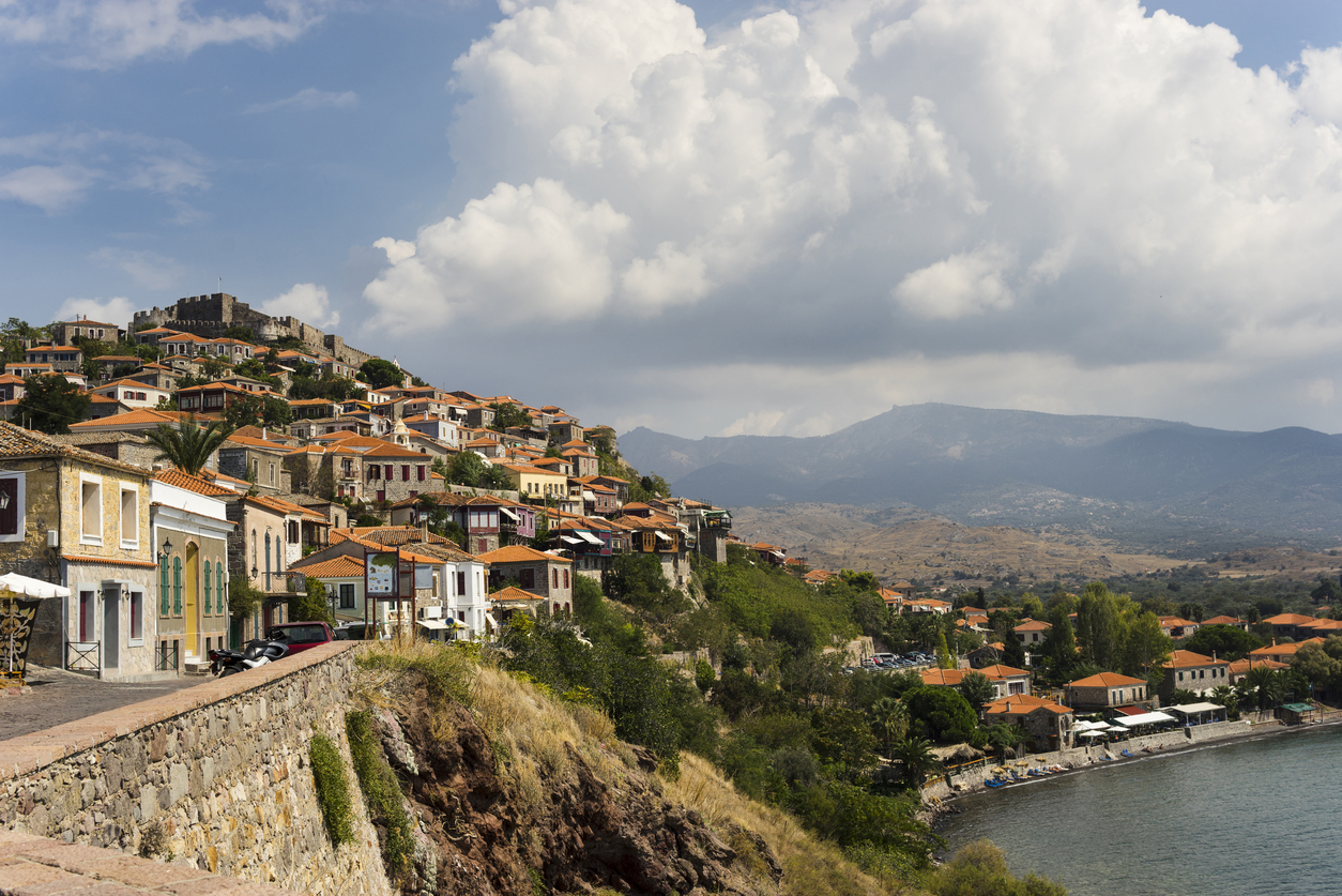 Molivos, historic town in Mytilene Island Greece.